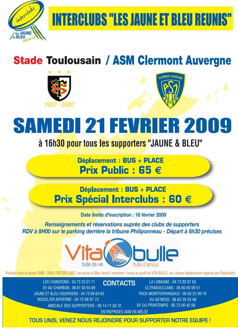 Infos Déplacement Toulouse, Interclubs