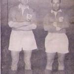 Bernard Chevalier et Robert Vigier avec le maillot du XV de France en 1958