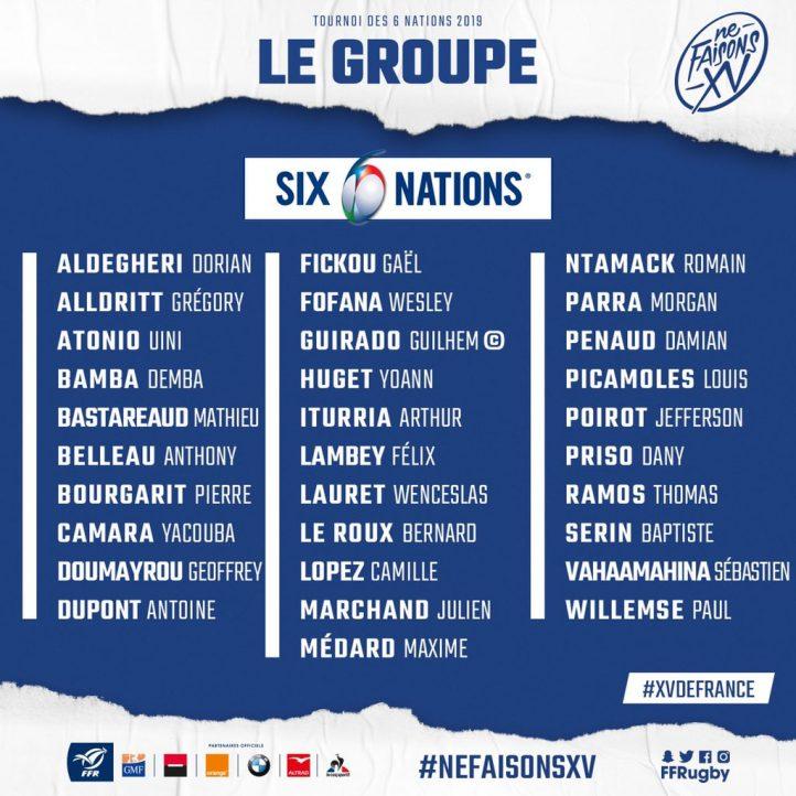 Sélection XV de France pour Tournoi 2019